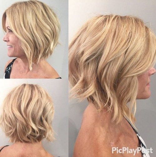 13 Beach Wedding Hair Ideas You Need To See Right Now: Soft Wavy Graduated Bob Hairstyle For Women Over 50