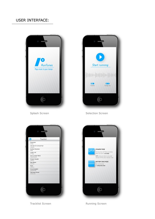 RunTunes  (iPhone and iPodTouch application) by Gergely Bogányi, via Behance