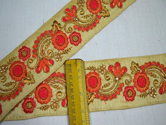 5yard 3D Gold Metallic Flower Applique Lace Embroidery Trim Lace Fabric  Trimming Scrapbooking Lace Motif Craft