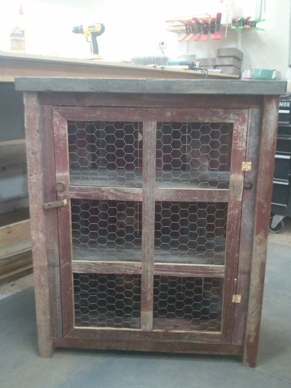 red 3 sided barnwood pie safe by TreehouseWoodworks on Etsy, $189.00.  My sister in laws taught me well.
