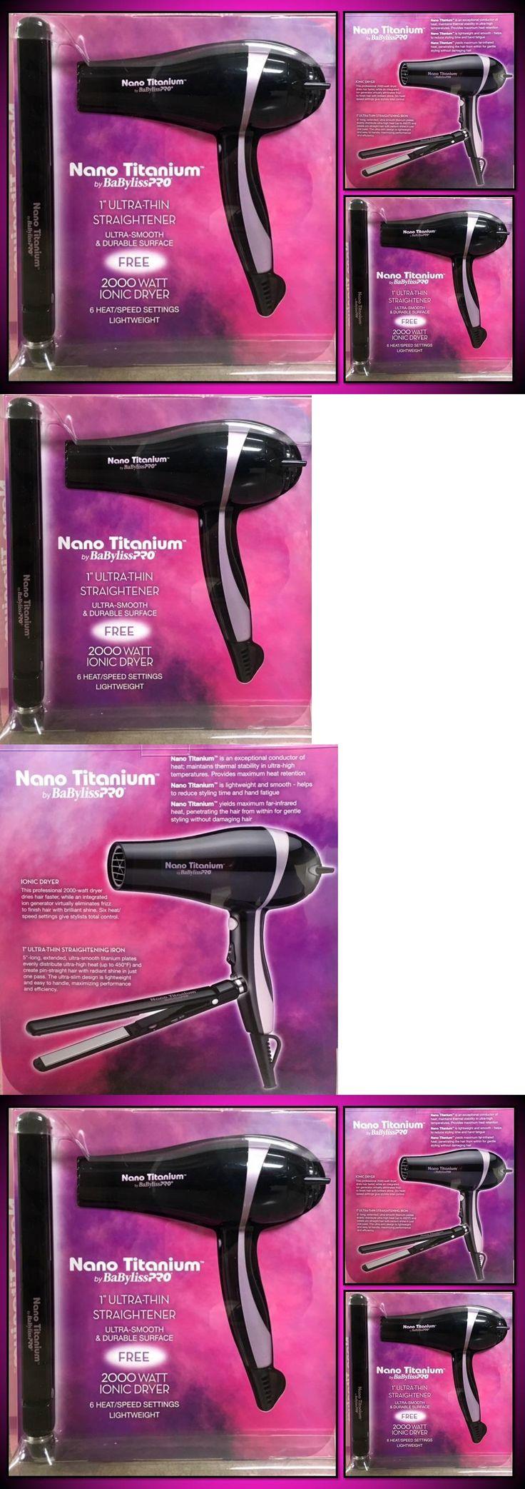 Hair Dryers: Babyliss Pro 1 Nano Titanium Ultra Thin Straightener Flat Iron Hair Blow Dryer BUY IT NOW ONLY: $128.66