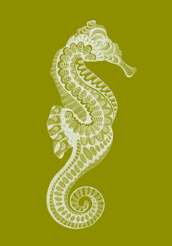 Green Zentangle Seahorse Drawing Print By Designsbygnm On