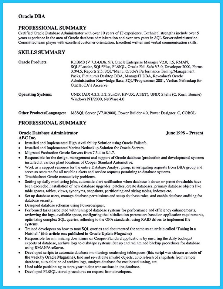 awesome High Impact Database Administrator Resume to Get Noticed Easily, Check more at http://snefci.org/high-impact-database-administrator-resume-to-get-noticed-easily