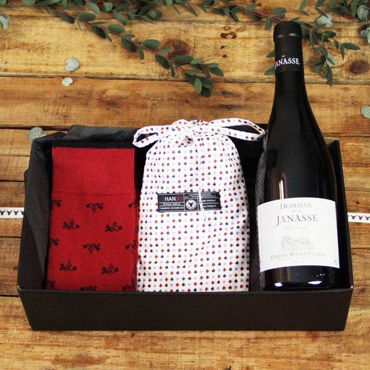 Caleçon et Chaussettes Made In France Mode Homme Motif Feuilles de vignes avec Bouteille - Idee cadeau de noel pour homme 2017 vin, restaurant, gastronomie, gourmand, style : motif, à fleurs, blanc, rouge