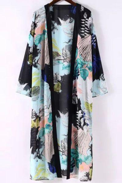 Printed 3/4 Sleeve Long Kimono Blouse