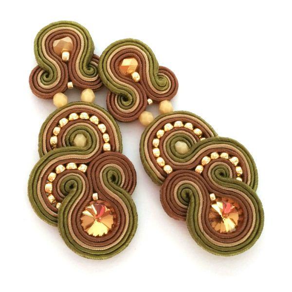 soutache earrings, soutache jewelry, bridal jewelry, statement earrings, formal jewelry, rustic wedding theme | SABO DESIGN
