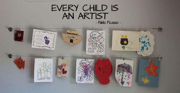 Idea of how to hang children artwork
