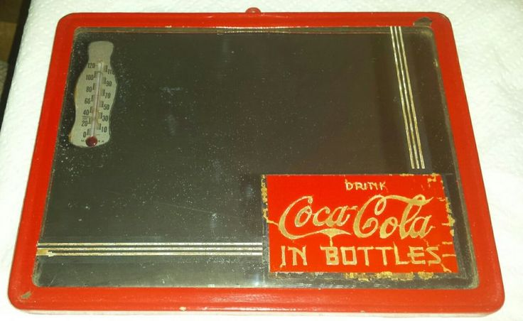 Vintage Coca Cola Mirror with Thermometer Art Deco Reverse Painted Coke  #CocaCola