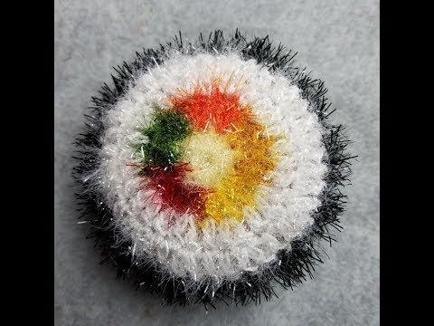 """JOY'S U.S.A Crochet 코바늘뜨기 ( 푸짐이김밥 수세미 만들기) """"중등급 수준 """"수세미실로 김밥수세미를 만들어요!! - YouTube"""