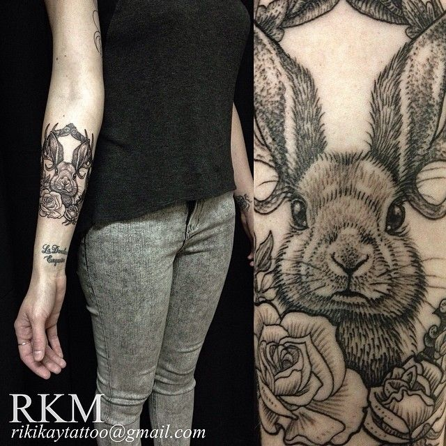 Bunny tattoo- looks like an etching!