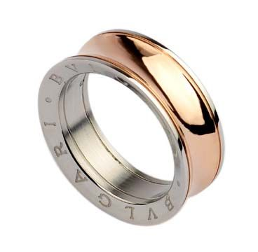 bvlgari anish kapoor ring in 18kt pink gold and steel narrow
