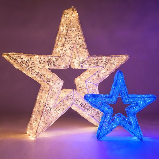 24 blue led five point dimensional star star decorationsoutdoor christmas