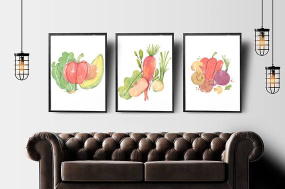 Watercolor veggies print set of 3 healthy food kitchen wall