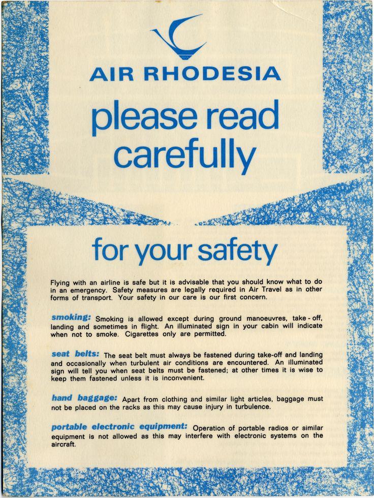 Air Rhodesia Safety Card