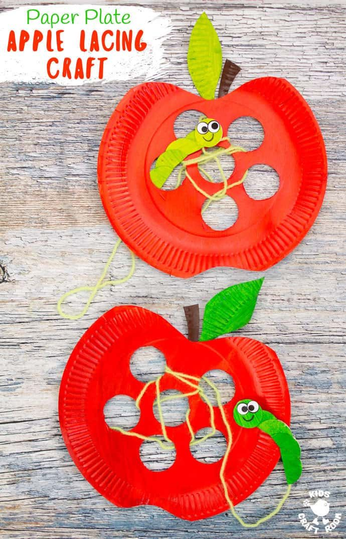 Paper Plate Apple Lacing Craft