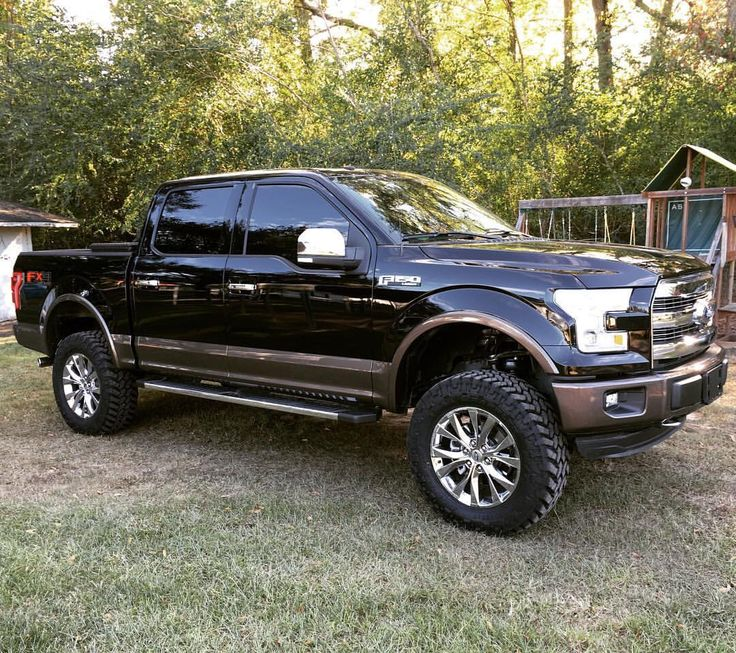 "2016 Ford F-150 Lariat FX4 Black and Caribou 6"" Rough Country Suspension Lift 35"" Nitto Trail Grapplers"