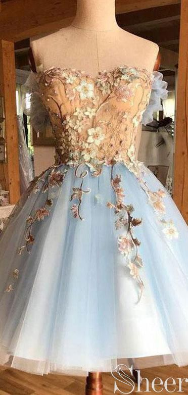 Strapless Light Blue Homecoming Dresses Lace Applique Beaded Formal Dress ARD2420