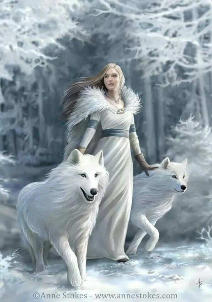 White wolves, white dress, white landscape.                                                                                                                                                      More