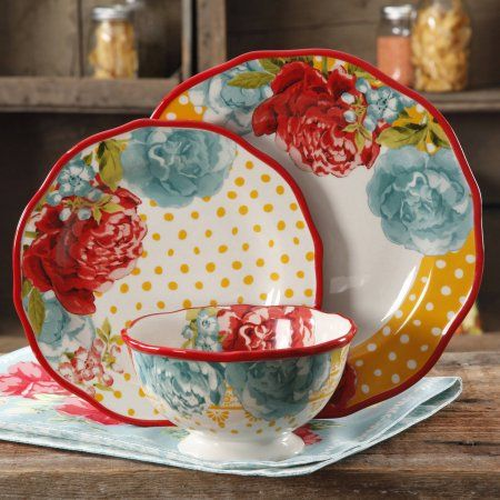 Free 2-day shipping. Buy The Pioneer Woman Blossom Jubilee 12-Piece Dinnerware Set at Walmart.com