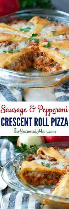 Just 15 minutes of prep for this easy dinner that the whole family loves -- Sausage and Pepperoni Crescent Roll Pizza!