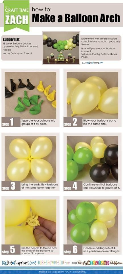 How to make a balloon arch for easy at home decorating! Use green, blue, and yellow for balloons and streamers with red question marks for Super Why.