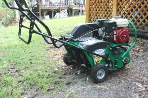 A core aerator for lawns pulls up plugs of soil./ Compacted soil/ Benefits of core aeration/  Aerifying and seeding/ Aerifying and weed Control