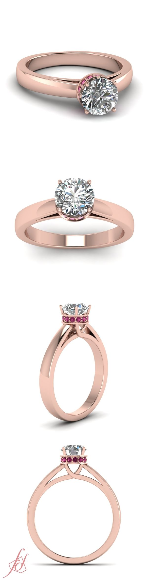 Bejeweled Crown Ring || Round Cut Diamond Side Stone Ring With Pink Sapphire In 14K Rose Gold