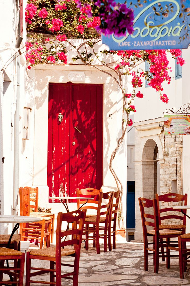Coffee & Cake Shop, Tinos, Greece. Can't you imagine sitting out there everyday for your morning coffee? Beautiful!