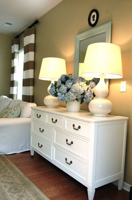 Love this dresser... and lamps... and hydrangeas