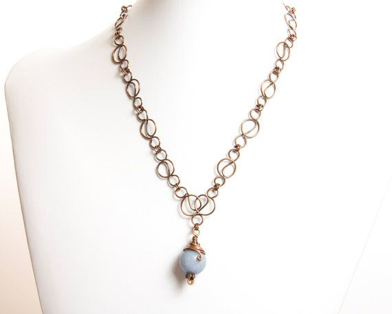 Baby Blue Angelite necklace ,  blue necklace , Angelite copper necklace ,  Art Nouveau chain , gift for her , mother's day , valentine's day
