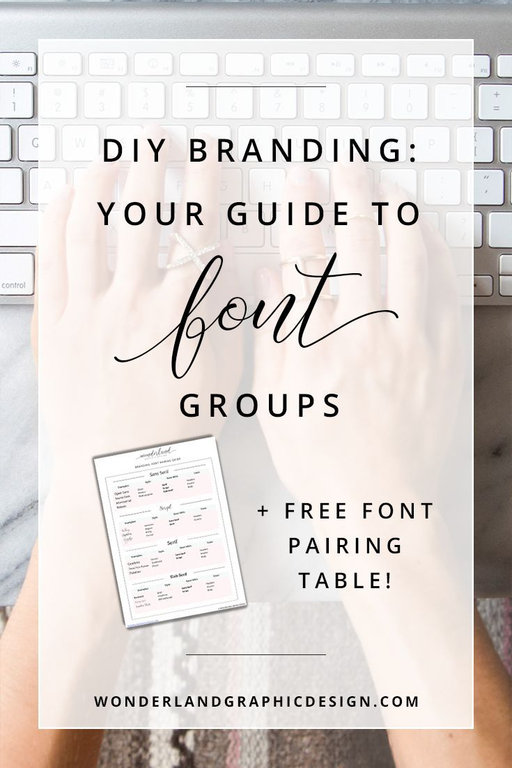 DIY Branding: Your Guide to Font Groups (+ Free Font Pairing Table!) — Wonderland Graphic Design. Branding advice, font types, branding tips, small business branding, small business, female entrepreneurs, creative biz owners, bloggers, social media marketing tips, create beautiful logos for yourself with font combinations of sans serif, script, serif and slab serif!