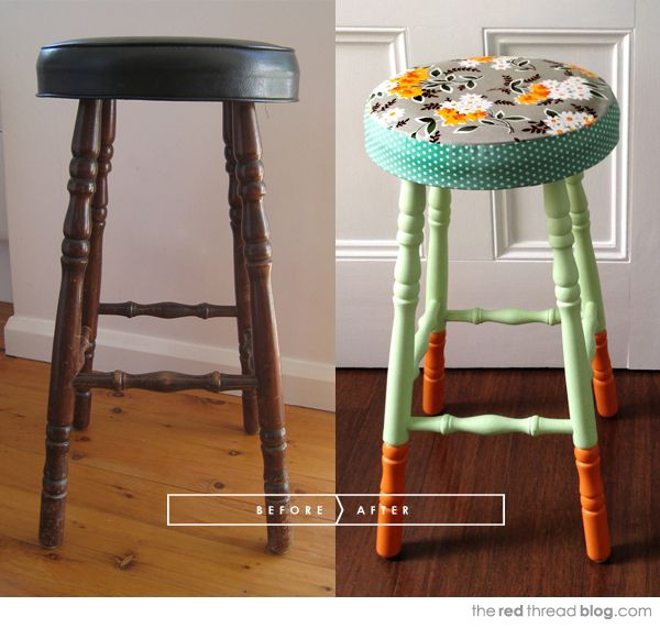 the red thread stool makeover before and after -- this could be the solution to my kitchen island.  Fun fabrics and mixxy-matchy paints.  So cute!