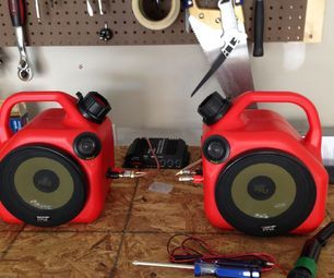 Gas Can Speakers - of course NEW never USED...LOL would be a cool idea for the shop! [ Wainscotingamerica.com ] #Mancave #wainscoting #design