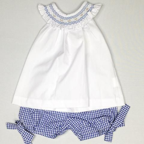 White Blouse with Blue Smocked Collar with Blue Plaid Shorts with Bow