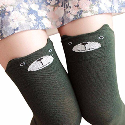 b89cd5a482880 Kanzd Women Winter Cute Cat Bear Cartoon Socks Over Knee High Boot Long  Socks Warm Socks For Girls