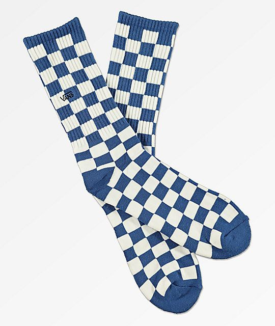 a86297cafbe71f Vans Checkerboard II Blue Crew Socks
