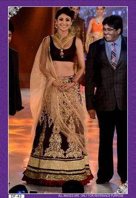 Shilpa shetty in designer maroon lehenga