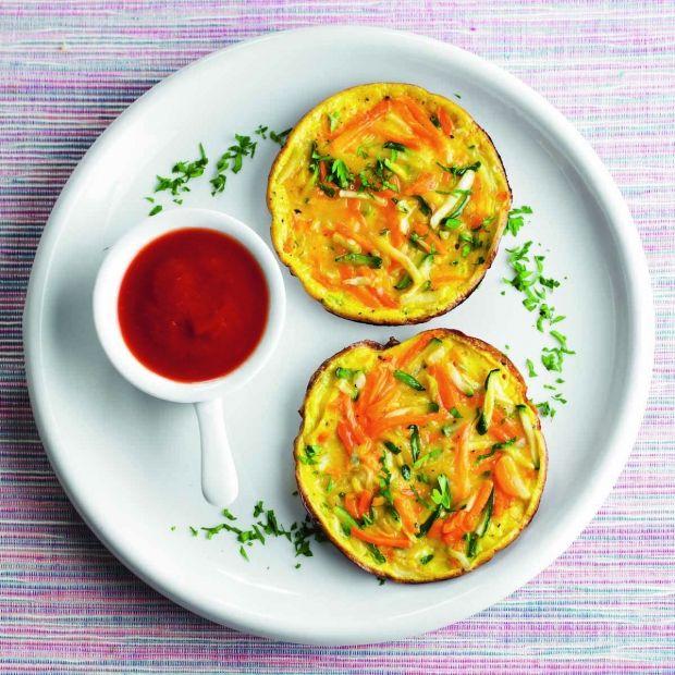Blinis de légumes au coulis de tomate froid