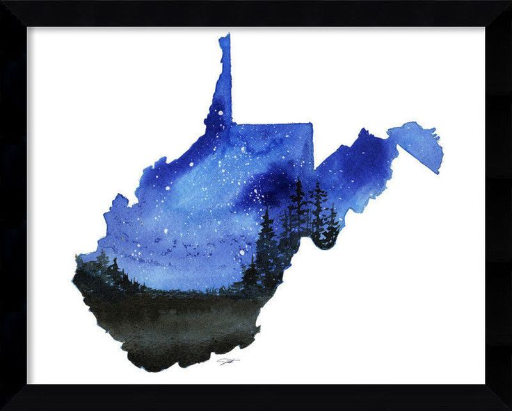 Amanti Art 'West Virginia State Watercolor' by Jessica Durrant Framed Wall Art…