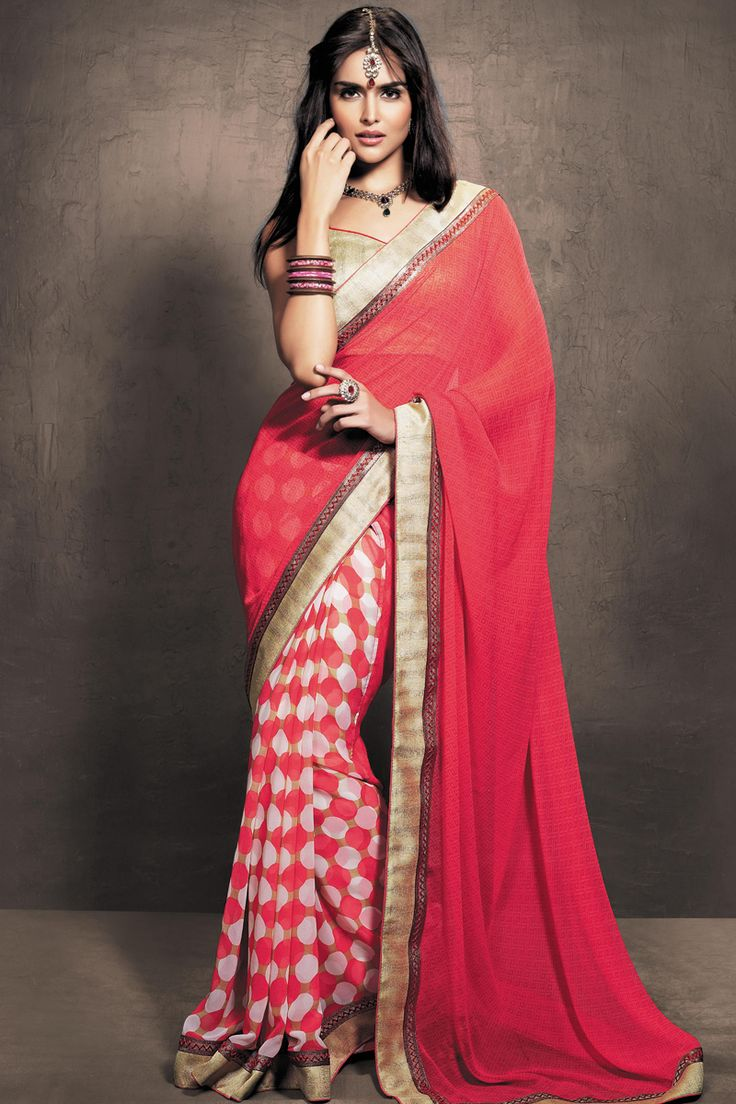 Amaranth Pink Faux Georgette Printed Casual and Party Saree Sku Code:317-4058SA927609 $ 36.00