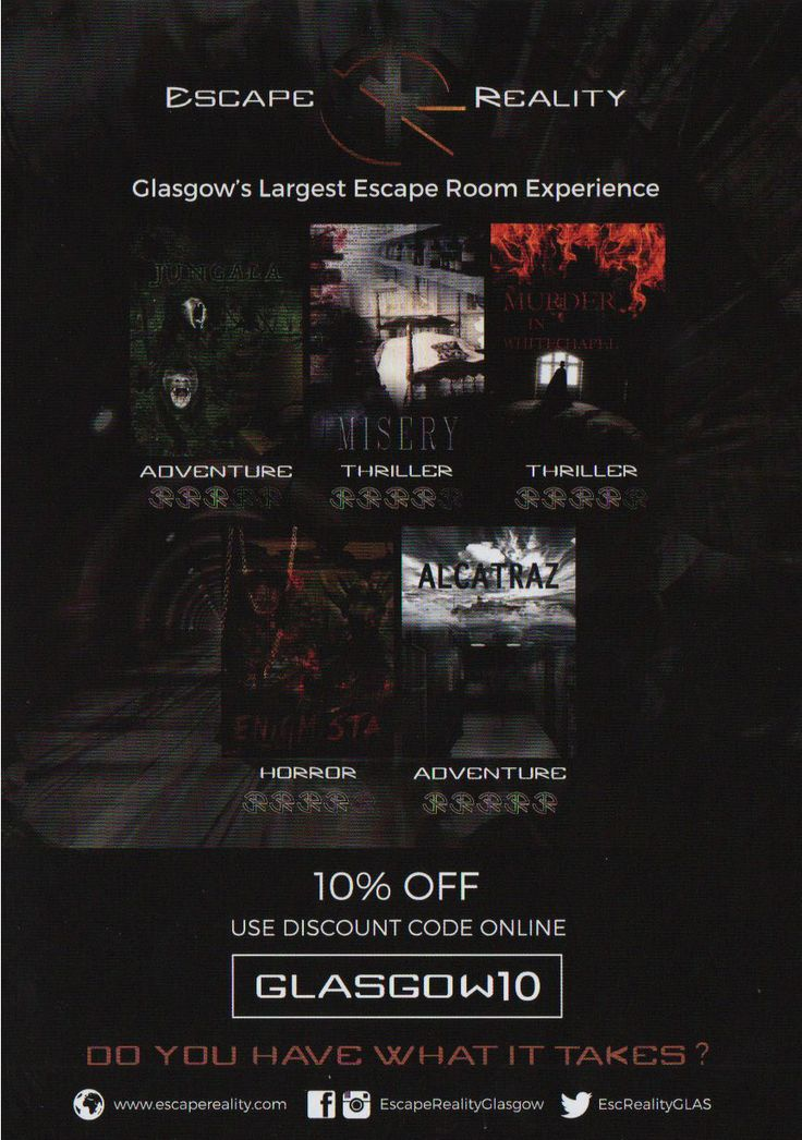 """Escape Reality Glasgow - """"Do you have what it takes""""?  Only now, use the 10% discount code [Glasgow10]  A premium experience with an exclusive bar and a large social area in the heart of Glasgow. Focused on learning where plyers are encouraged to think outside the box. With the distribution help of F