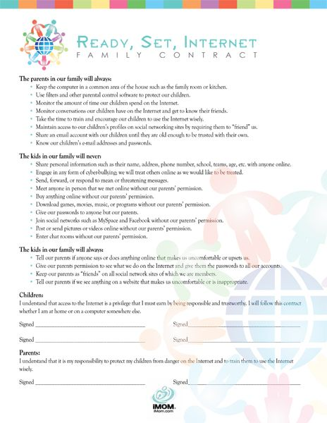 FREE Printable Family Internet Contract : the Internet is an amazing place where your child can see and meet the world. What part of that world is safe for your child should be determined by you.