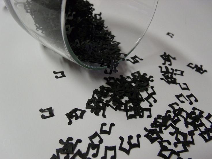 Mini black music notes for table confetti decorations, invitations, embellishments. Have flower girl throw music confetti along with petals.