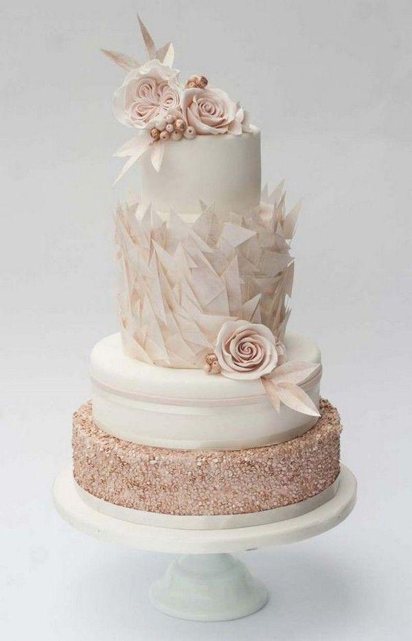 elegante erröten rosa Hochzeitstorte   – Lindas tortas de novios