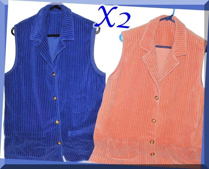 Women's Corduroy Summer Vest X2 Short Sleeve Size Large  | eBay