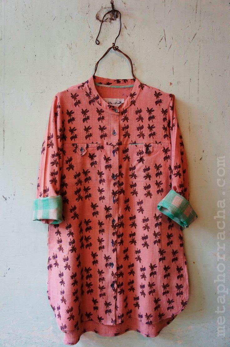 A hand block printed long khadi shirt from www.metaphorracha.com