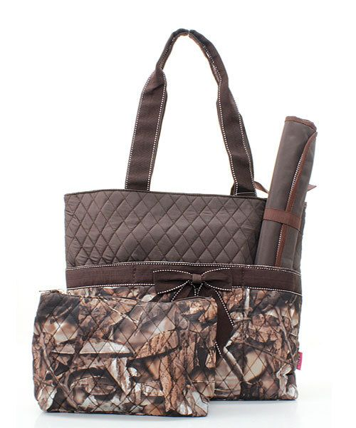 Camo diaper bag with brown ribbon accent