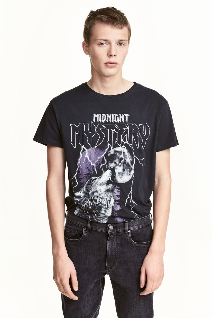 T-shirt with a motif - Black/Print - Men | H&M GB 1