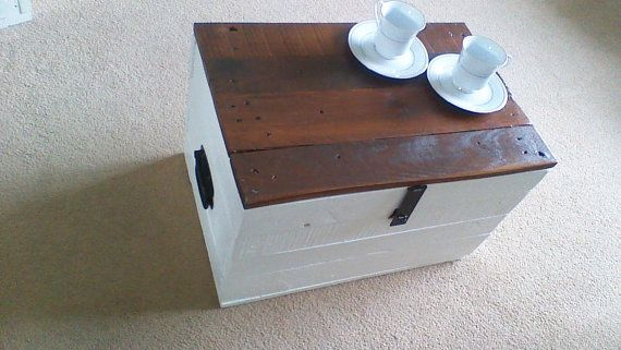 Reclaimed Rustic Solid Wood Storage Chest / Trunk Coffee Table