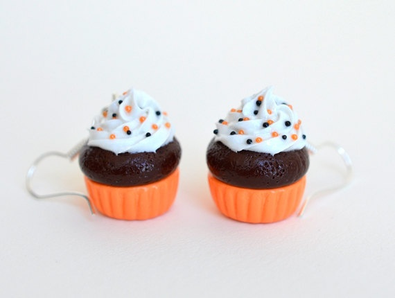 Halloween Sprinkles Cupcake Earrings  Polymer Clay by Ashito, $10.00